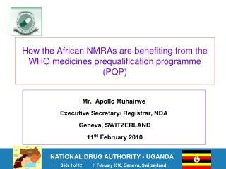 How the African NMRAs are benefiting from the WHO medicines prequalification programme PQP