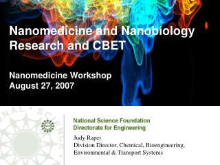 Nanomedicine and Nanobiology  Research and CBET   Nanomedicine Workshop August 27, 2007