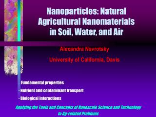 Nanoparticles: Natural  Agricultural Nanomaterials  in Soil, Water, and Air