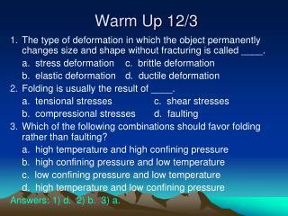 Warm Up 12/3