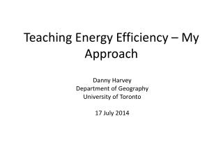 Teaching Energy Efficiency – My Approach