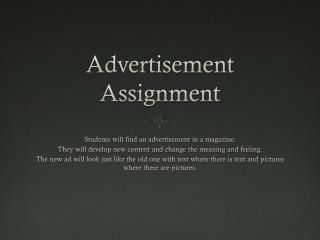 Advertisement Assignment