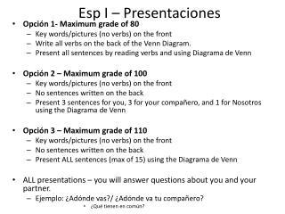 Esp  I –  Presentaciones
