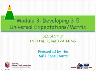 Module 3: Developing 3-5   Universal Expectations/Matrix