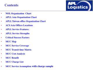 NOL Organization  Chart APLL Asia Organization Chart APLL Taiwan office Organization Chart