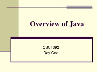 Overview of Java