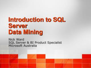 Introduction to SQL Server Data Mining