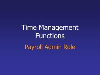Time Management  Functions