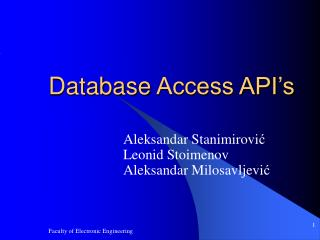 Database  Access API's