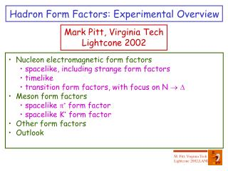 Hadron Form Factors: Experimental Overview