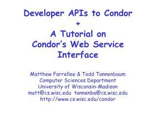 Developer APIs to Condor + A Tutorial on  Condor�s Web Service Interface