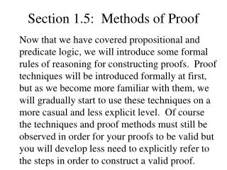 Section 1.5:  Methods of Proof