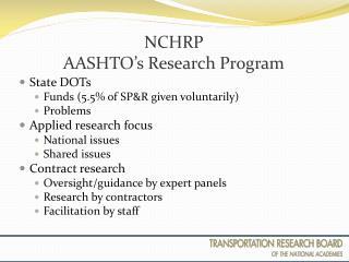 NCHRP AASHTO's Research Program