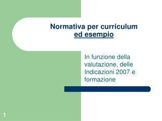 Normativa per curriculum  ed esempio