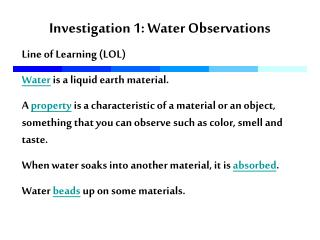 Investigation 1: Water Observations