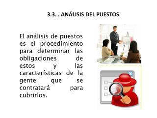3.3. . ANÁLISIS DEL PUESTOS