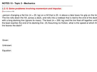 NOTES 15 - Topic 2 - Mechanics