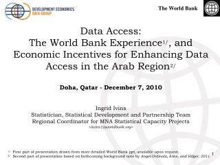 Data Access: The World Bank Experience1