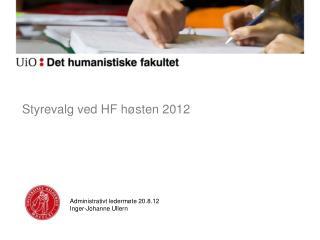 Styrevalg ved HF høsten 2012