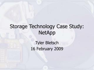 Storage Technology Case Study: NetApp