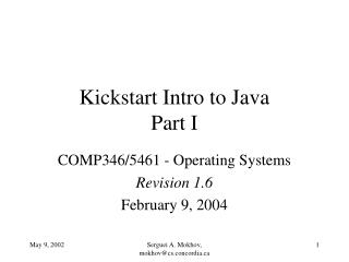 Kickstart Intro to Java Part I