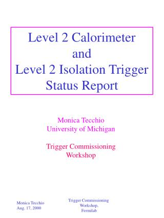 Level 2 Calorimeter and Level 2 Isolation Trigger Status Report