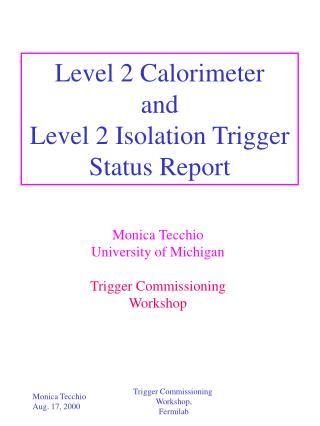 Level 2 Calorimeter and Level 2 Isolation Trigger Status Report