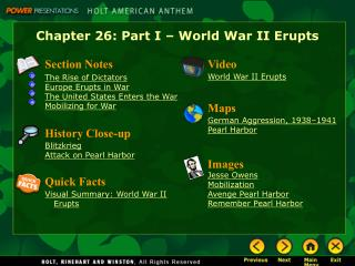 Chapter 26: Part I – World War II Erupts