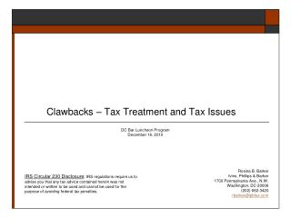 Clawbacks   Tax Treatment and Tax Issues