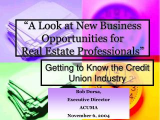 """A Look at New Business Opportunities for  Real Estate Professionals"""