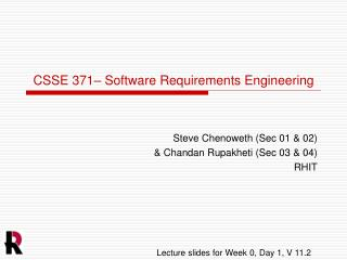 CSSE 371– Software Requirements Engineering