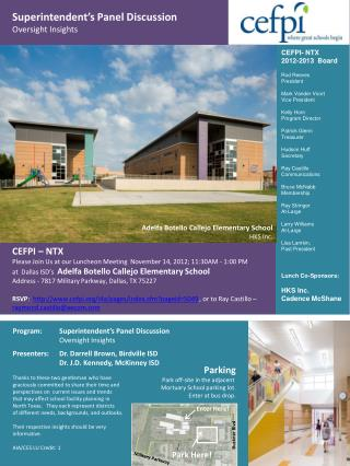 CEFPI – NTX Please Join Us at our Luncheon Meeting  November 14, 2012; 11:30AM - 1:00 PM