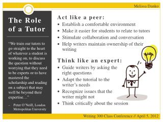 The Role of a Tutor