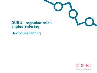 DUBU - organisatorisk implementering Gevinstrealisering