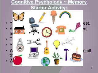 Cognitive Psychology ~ Memory Starter Activity: How good is your memory?
