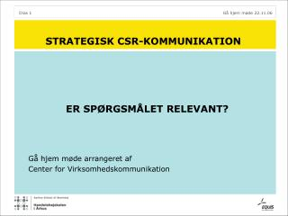 STRATEGISK CSR-KOMMUNIKATION