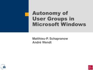 Autonomy of User Groups in Microsoft Windows