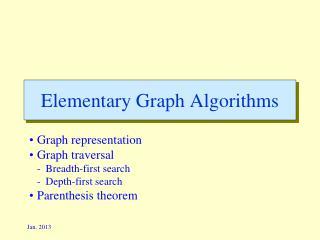Elementary Graph Algorithms