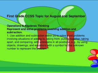 First Grade CCSS Topic for August and September Operations & Algebraic Thinking