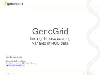 GeneGrid  finding disease causing variants in NGS data