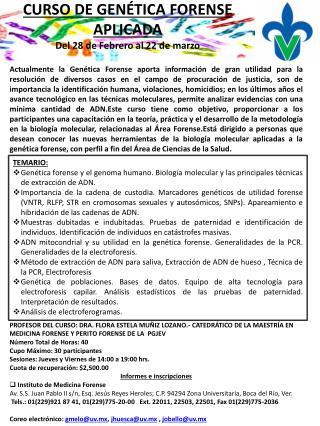 CURSO DE GENÉTICA FORENSE  APLICADA Del 28 de Febrero al 22 de marzo
