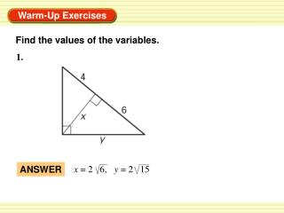 Find the values of the variables.