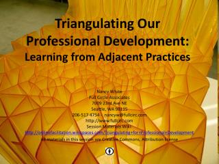 Triangulating Our Professional Development:   Learning from Adjacent Practices