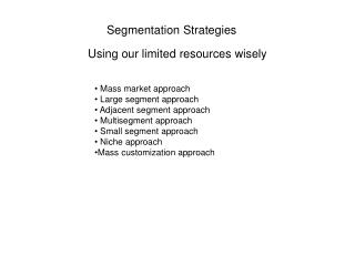 Segmentation Strategies