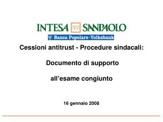 Cessioni antitrust - Procedure sindacali: Documento di supporto  all' esame congiunto