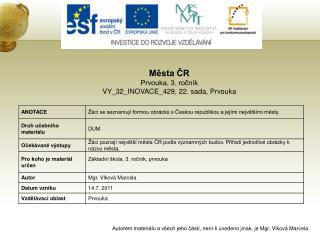 Města ČR Prvouka, 3. ročník VY_32_INOVACE_429, 22. sada, Prvouka
