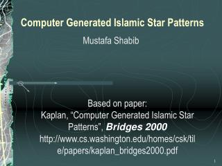 Computer Generated Islamic Star Patterns