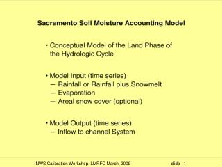 Sacramento Model Calibration