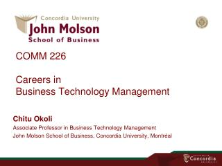 COMM 226 Careers in Business Technology Management