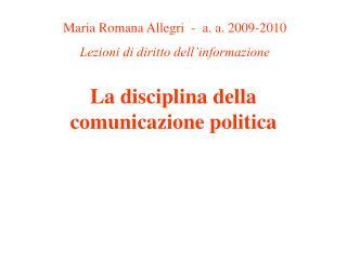 La disciplina della comunicazione politica